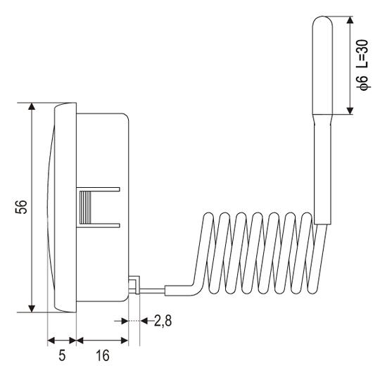 Thermometer Rund Einbauthermometer Fernthermometer 1,5m Fernfühler Ø52mm 350°C