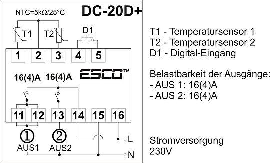 zweikanal temperaturregler 2 messeing nge 2 steuerausg nge. Black Bedroom Furniture Sets. Home Design Ideas